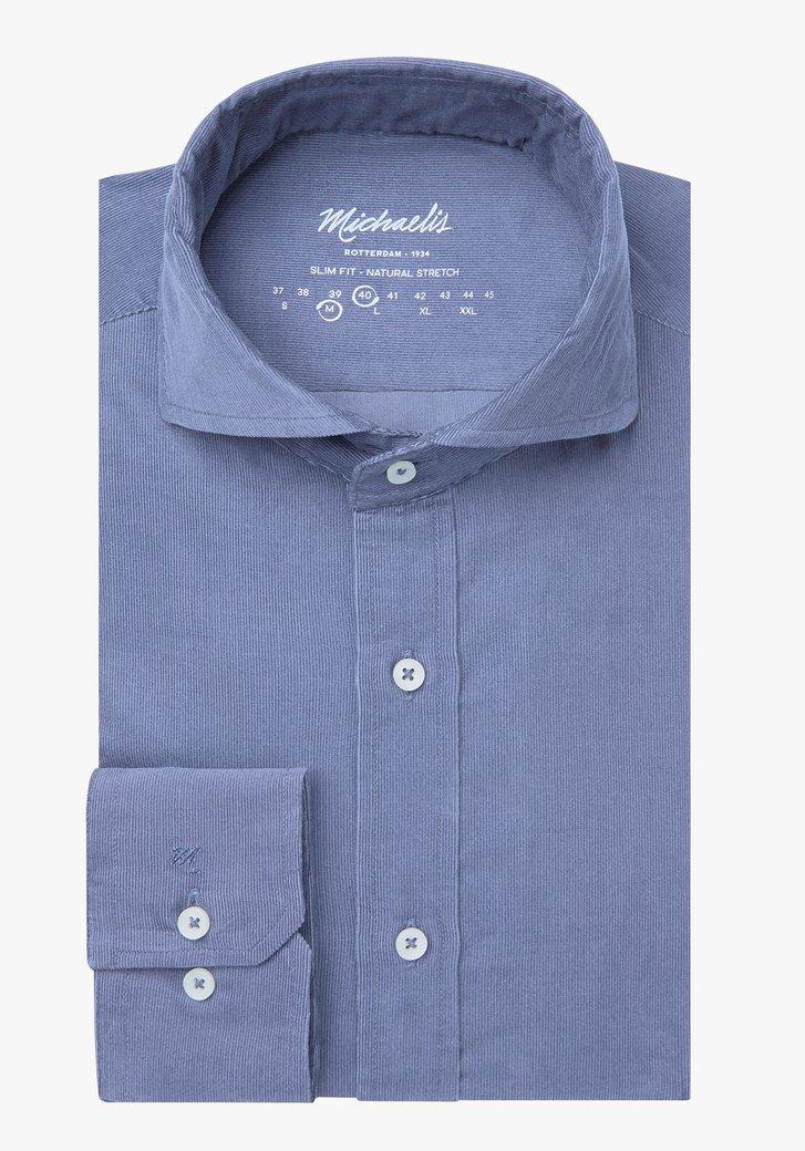 Afbeelding van Blauw fijn gestreept hemd - slim fit