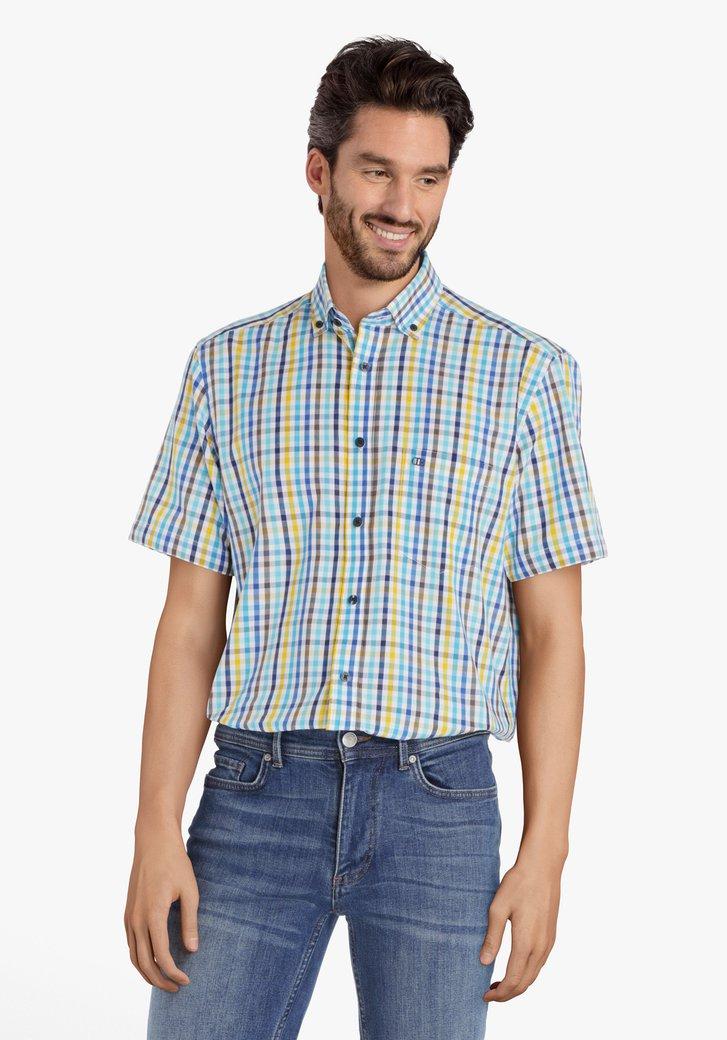 Blauw-geel geruit hemd - comfort fit