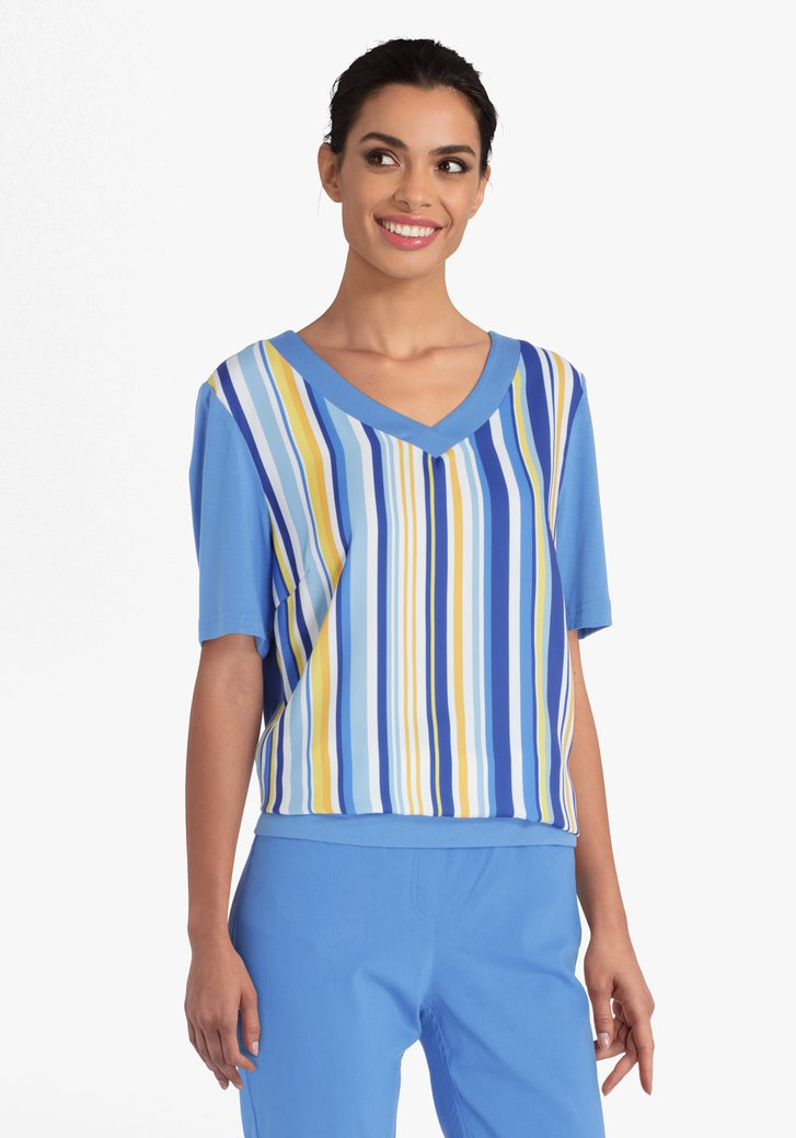 Blauw-geel gestreepte blouse