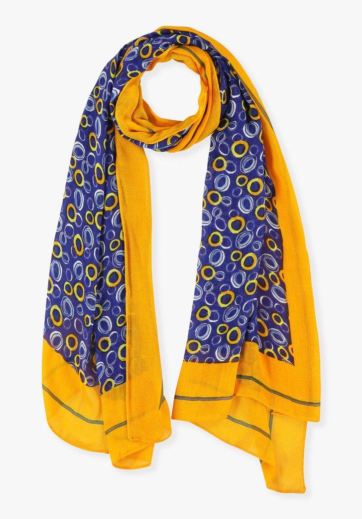 Blauw- gele sjaal met print