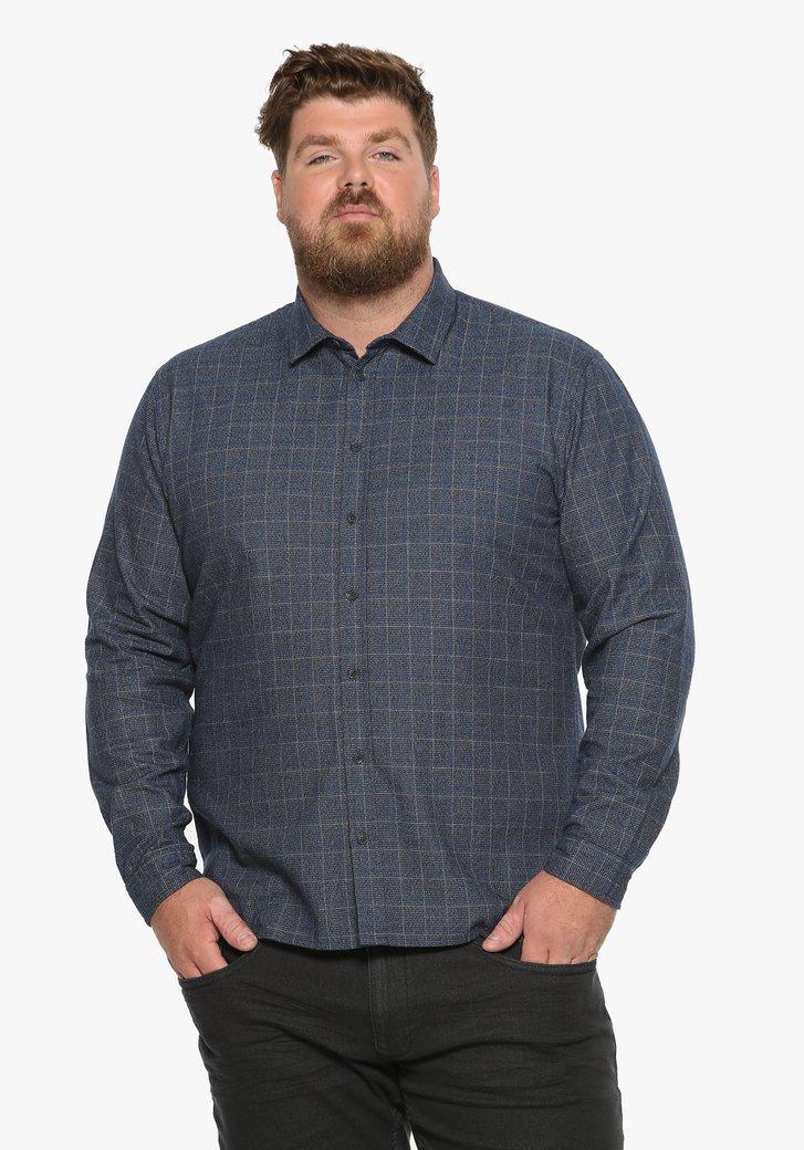 Blauw geruit katoenen hemd