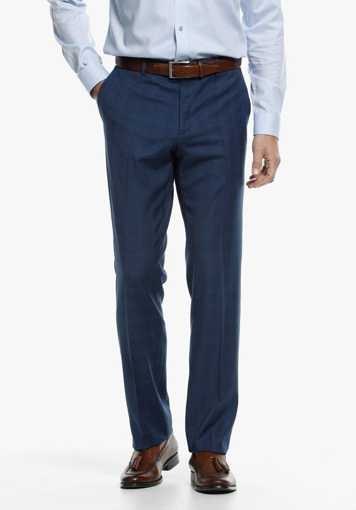 Blauw geruite kostuumbroek - comfort fit