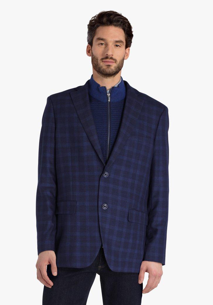 Blauw geruite vest - comfort fit