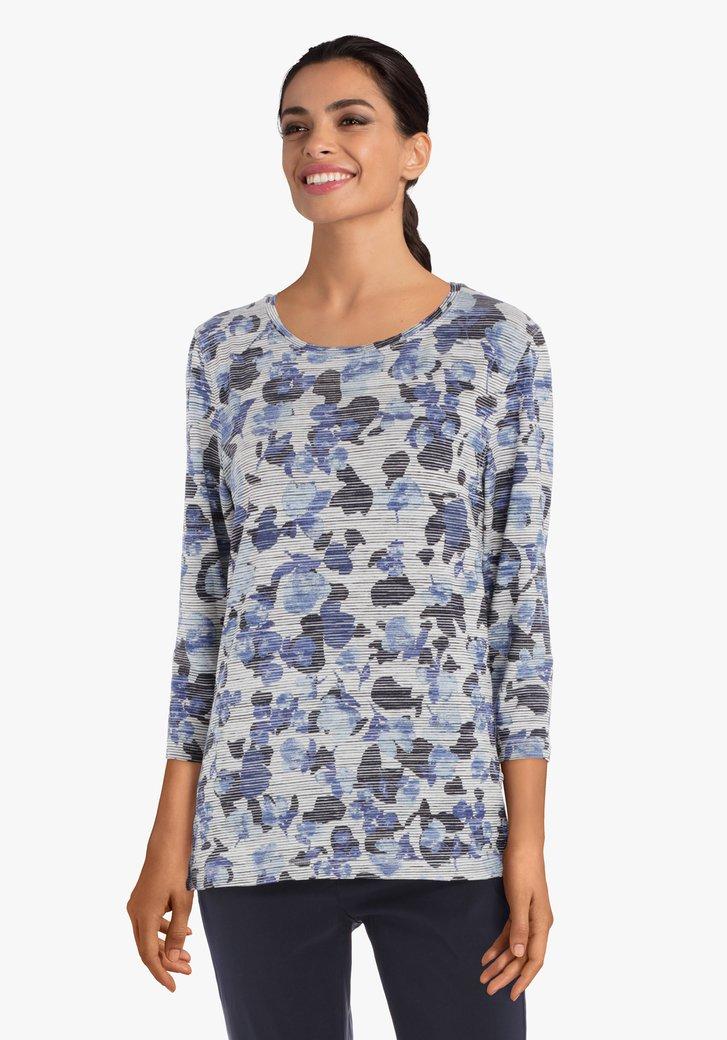 Blauw gestreept T-shirt met bloemen