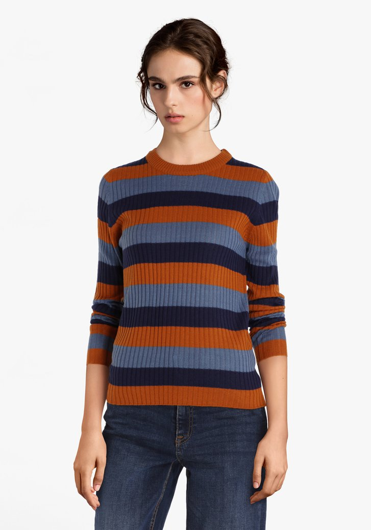 Blauw gestreepte trui in gebride stretchstof