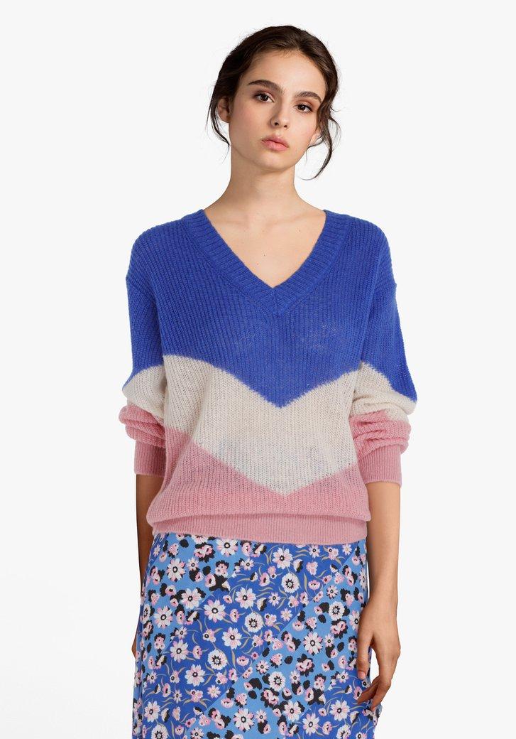 Blauw gestreepte trui met colorblocking