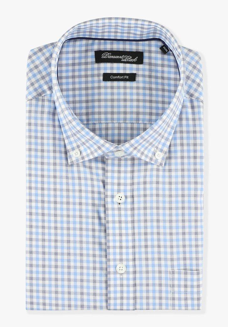Blauw-grijs geruit hemd - comfort fit