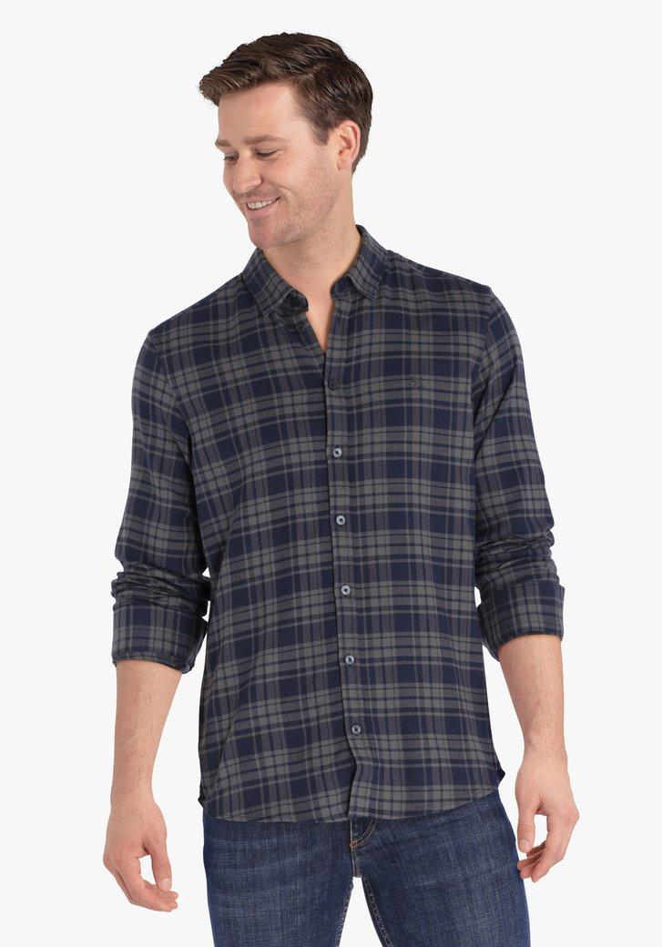 Blauw-grijs geruit hemd - regular fit