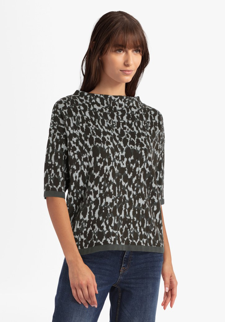 Blauw-grijze trui met 3/4 mouwen