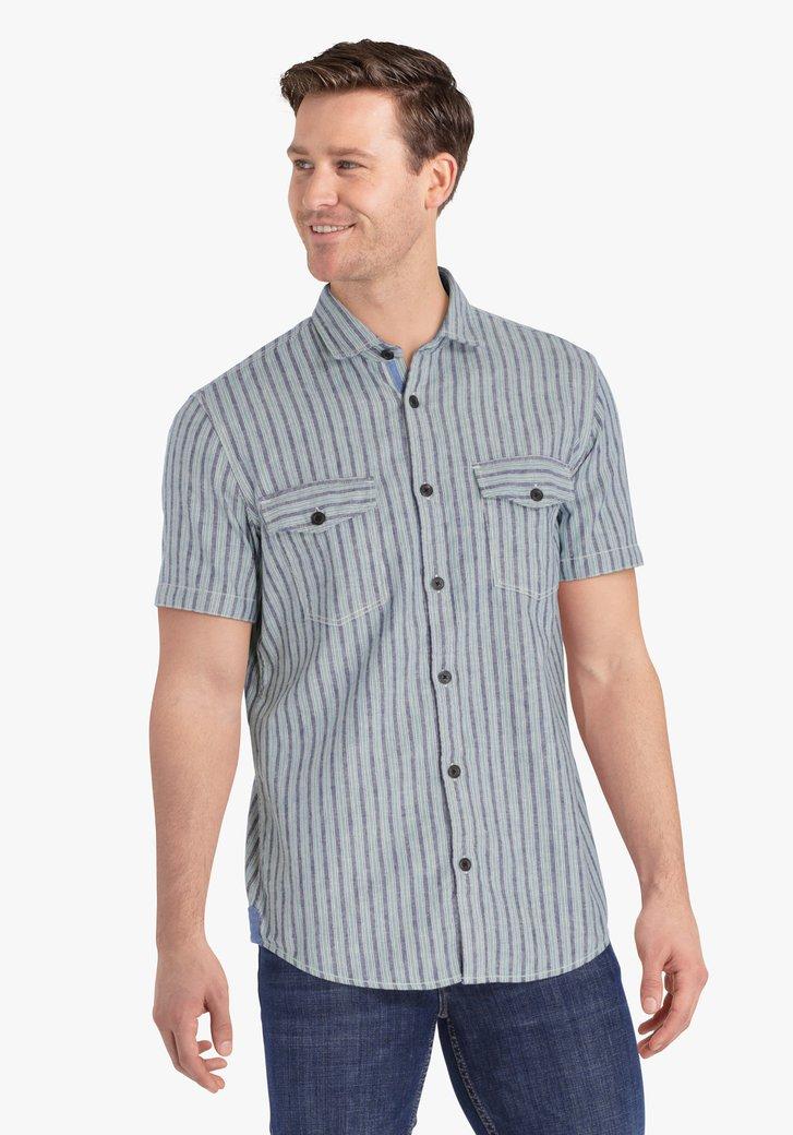 Blauw-groen gestreept hemd - regular fit