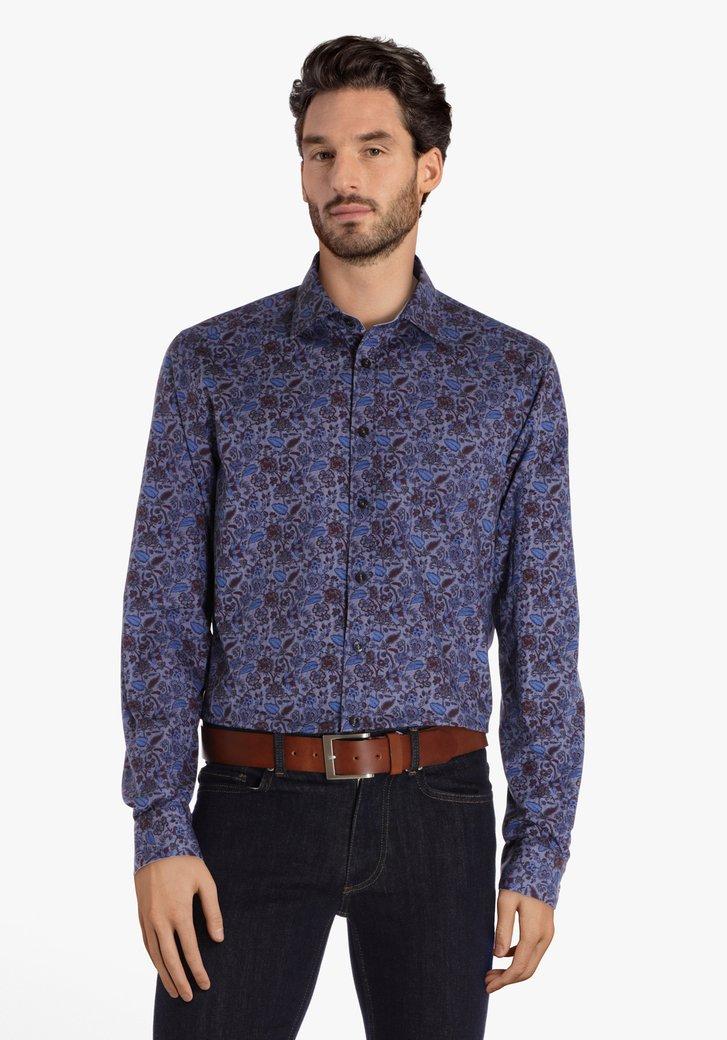 Blauw hemd met bloemenprint - regular fit