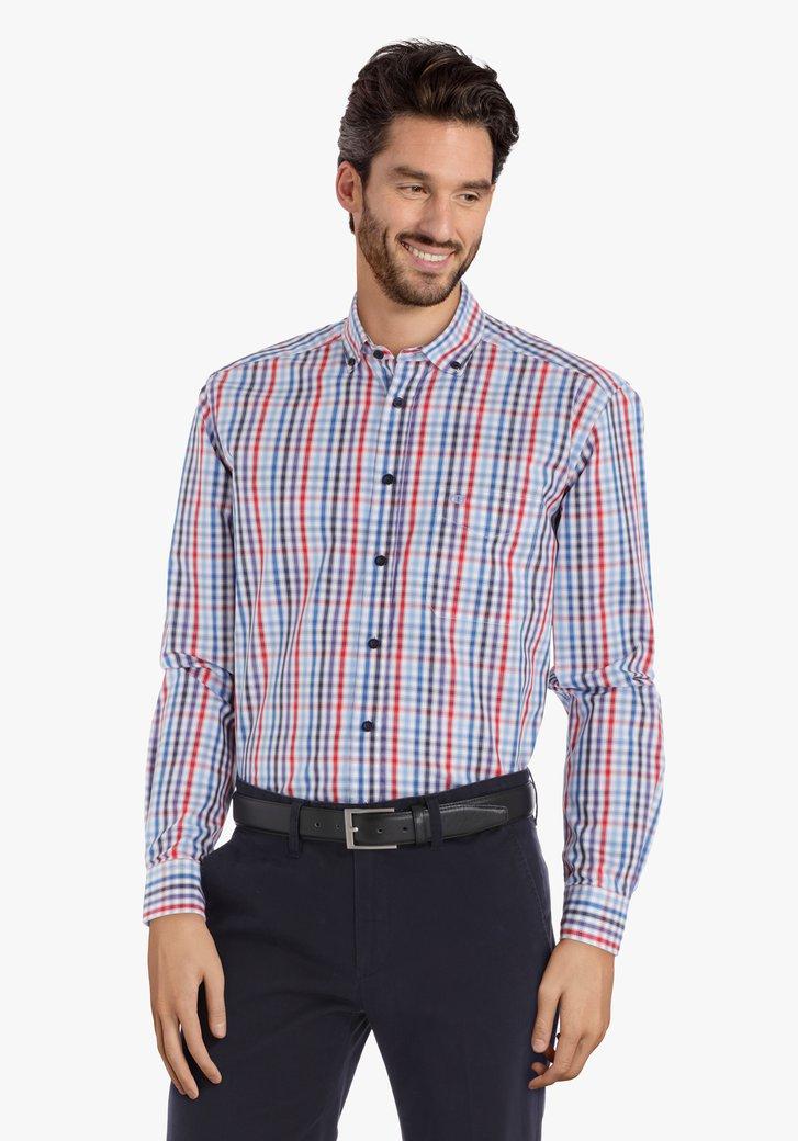 Blauw hemd met blokjes – comfort fit