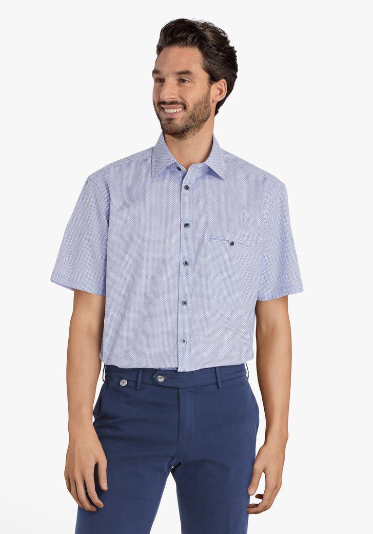 Blauw hemd met blokjes - comfort fit