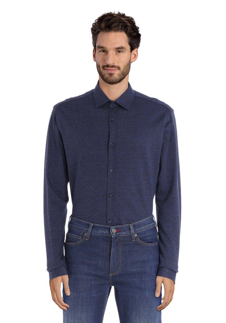 Blauw hemd met donkere  miniprint - tailored fit