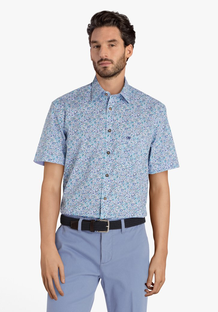 Blauw hemd met fijne bloemenprint - comfort fit