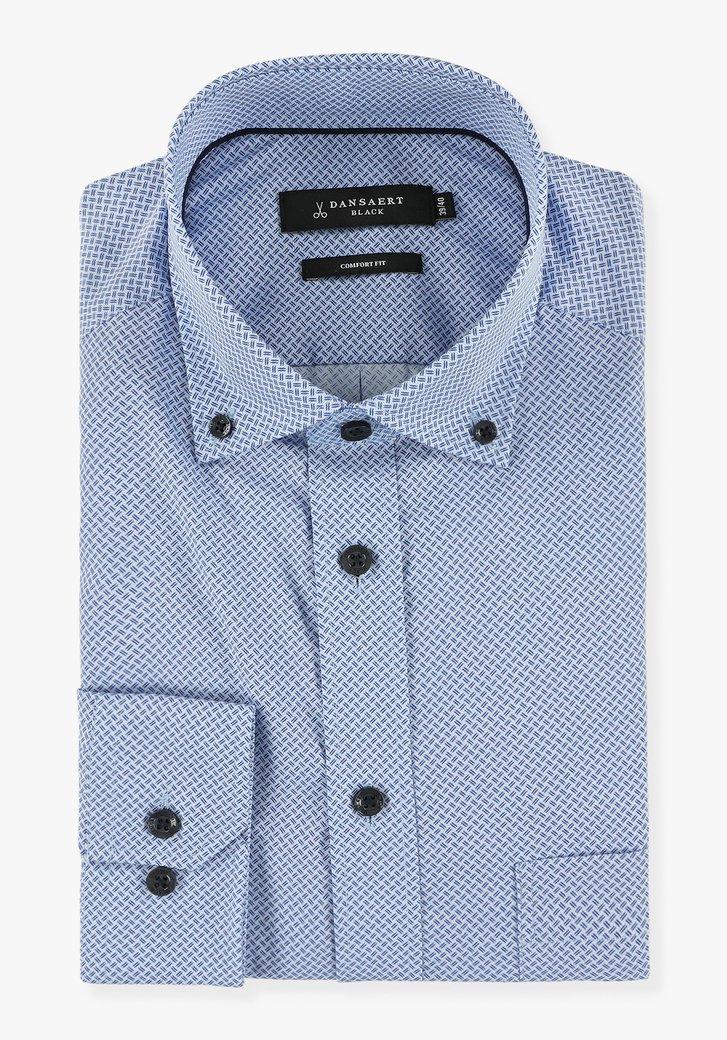 Blauw hemd met fijne print - comfort fit