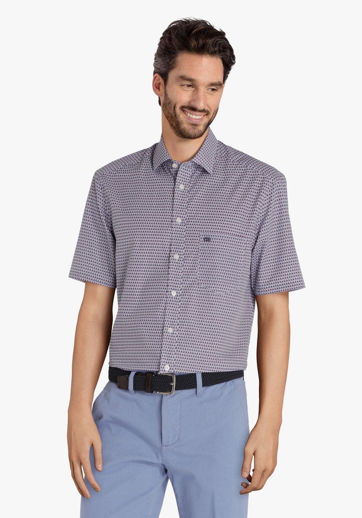 Blauw hemd met fijne visjesprint - comfort fit