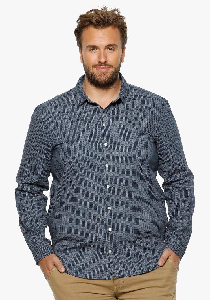 Blauw hemd met fijne witte print