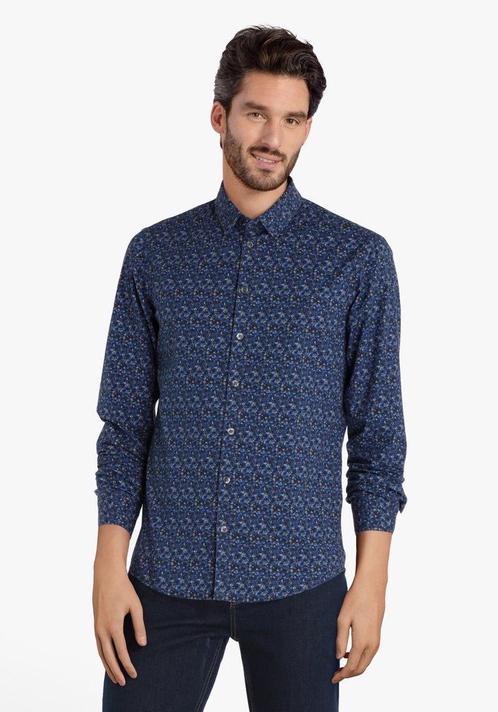 Blauw hemd met grijs-blauwe print - slim fit