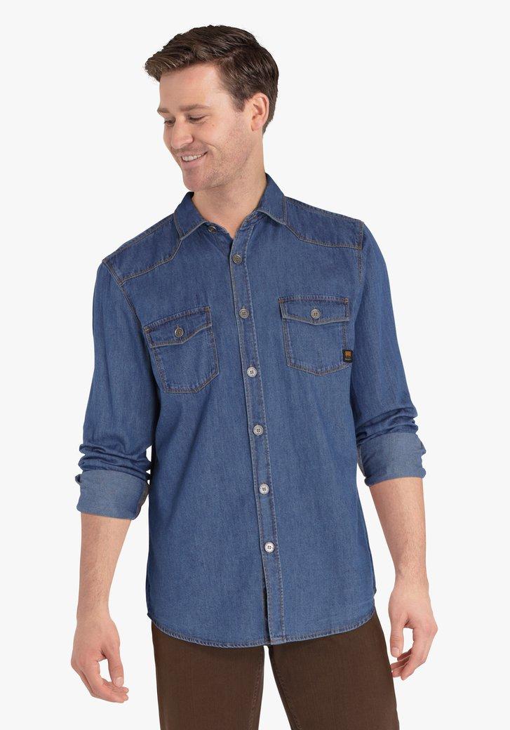 Blauw hemd met jeans look - regular fit