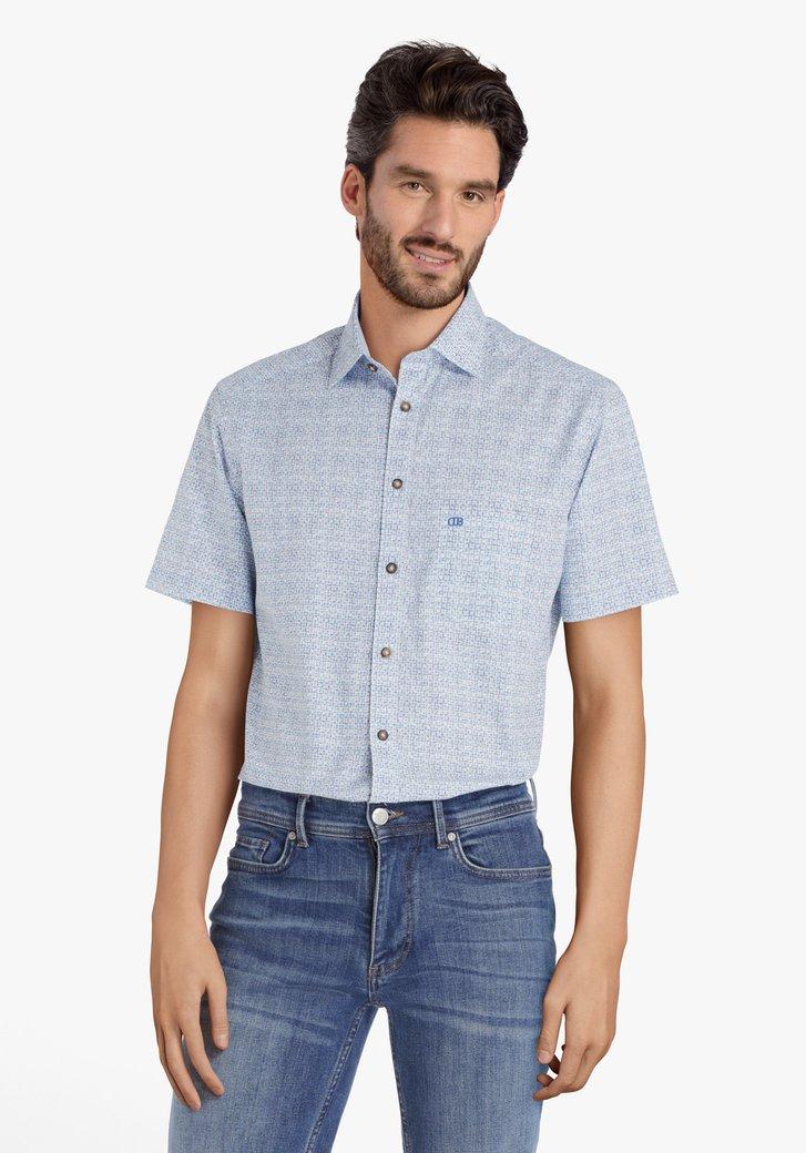 Blauw hemd met miniprint - regular fit