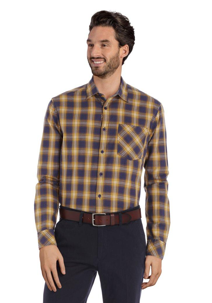 Blauw hemd met okerkleurige ruiten – regular fit