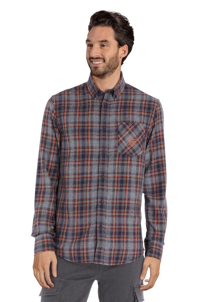 Blauw hemd met oranje ruiten - regular fit
