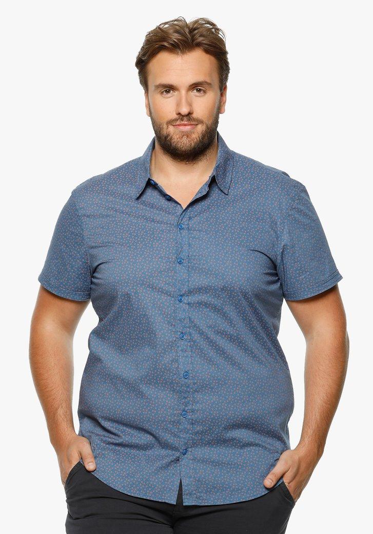 Blauw hemd met rode miniprint