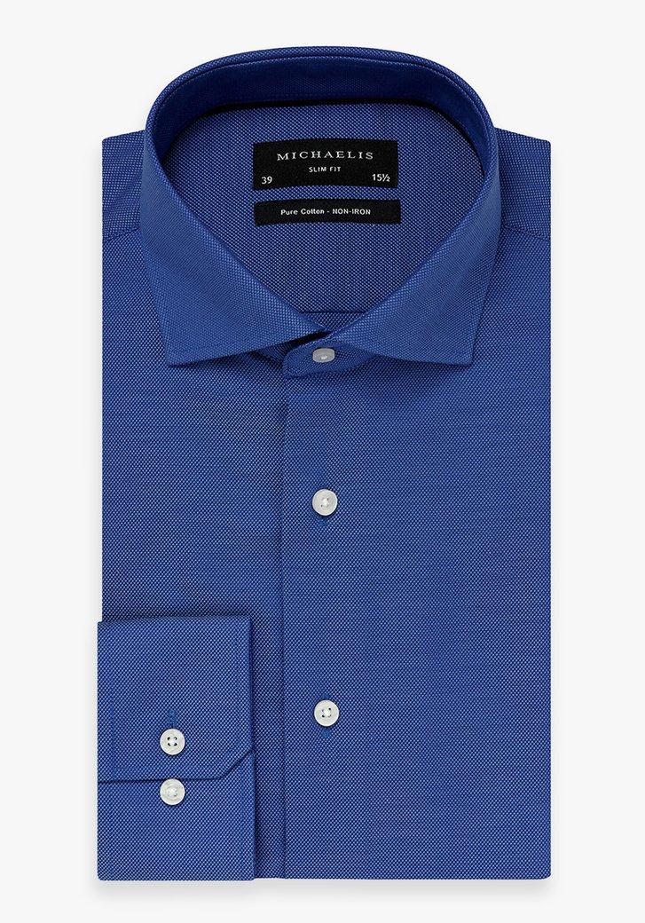Blauw hemd met textuur - Slim fit