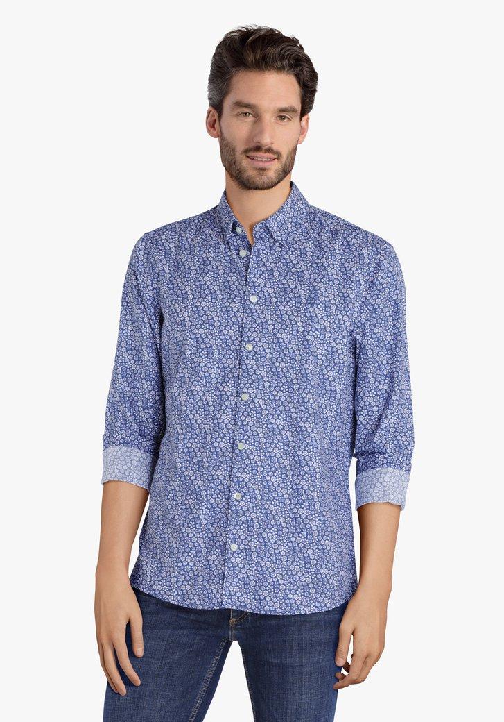 Blauw hemd met witte bloemen - regular fit
