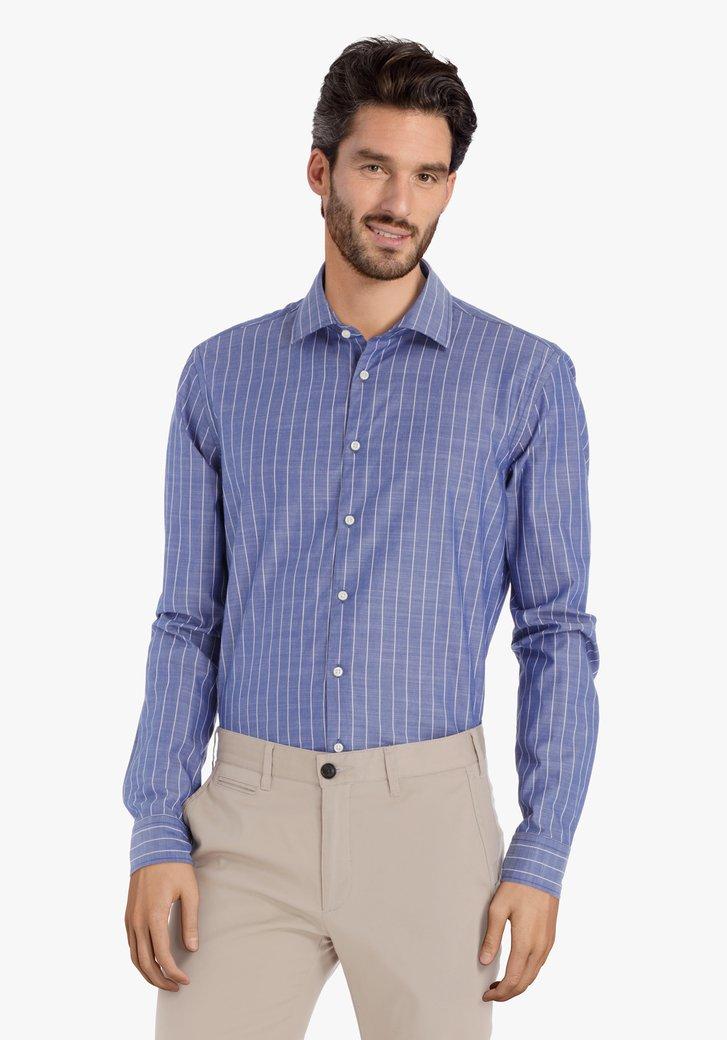 Blauw hemd met witte strepen – slim fit