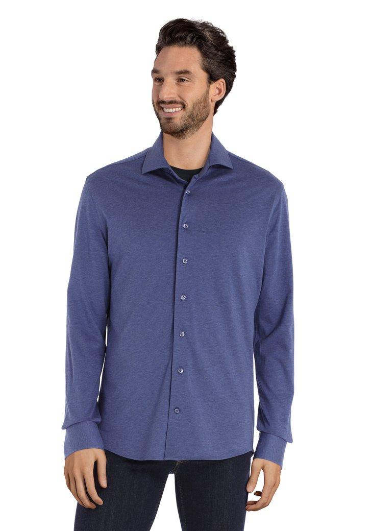 Blauw katoenen shirt - slim fit
