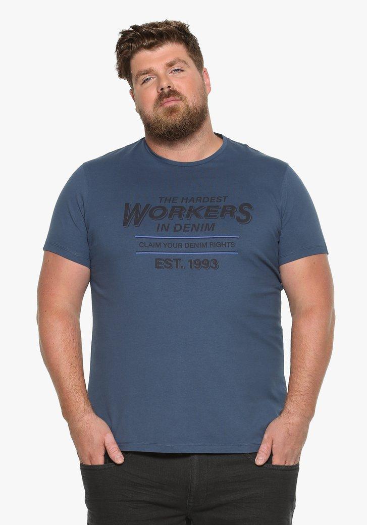 Blauw katoenen T-shirt met opschrift