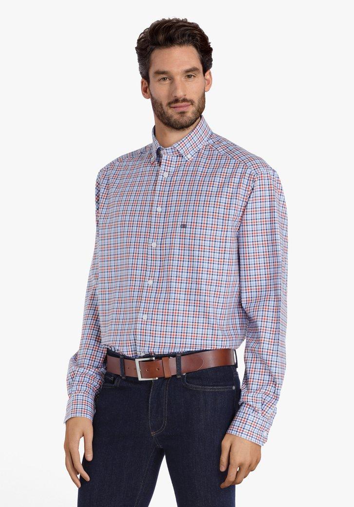 Blauw-oranje geruit hemd - comfort fit