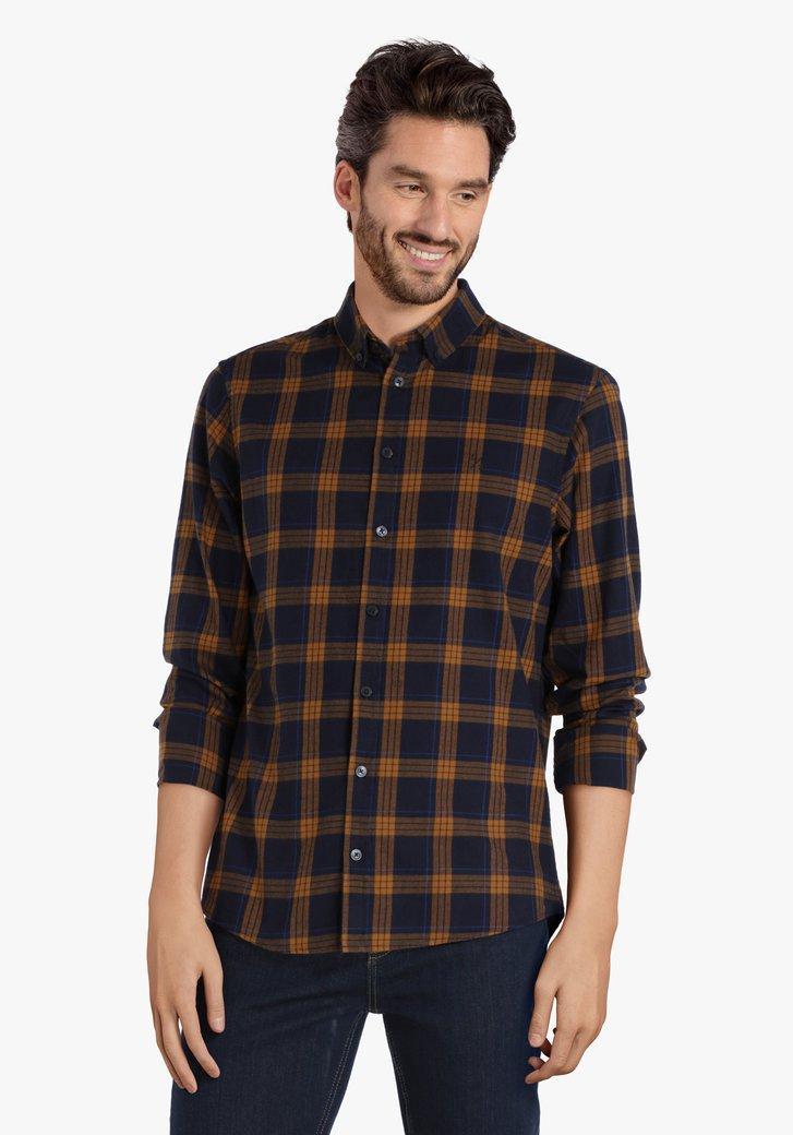 Blauw- roestbruin geruit hemd - regular fit
