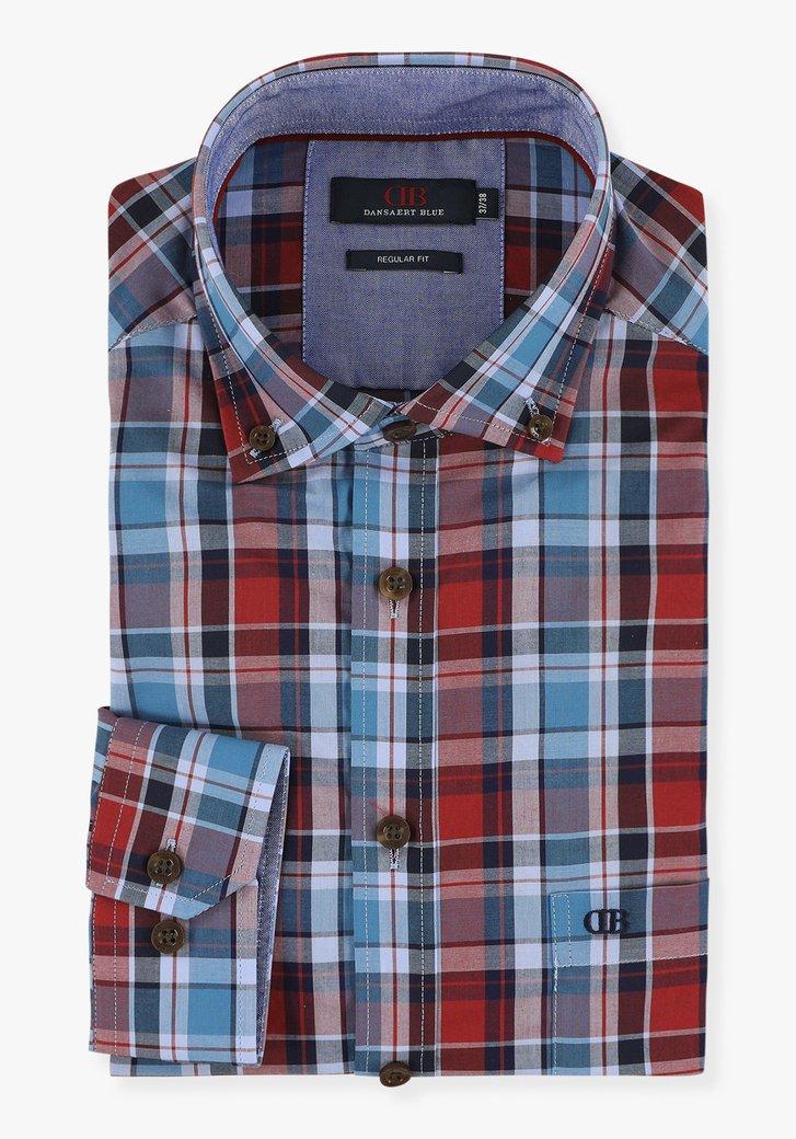 Blauw-rood geruit hemd - regular fit