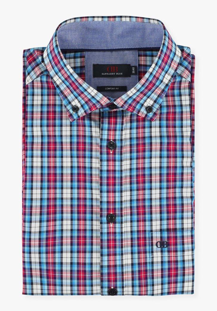Blauw-roze geruit hemd - comfort fit