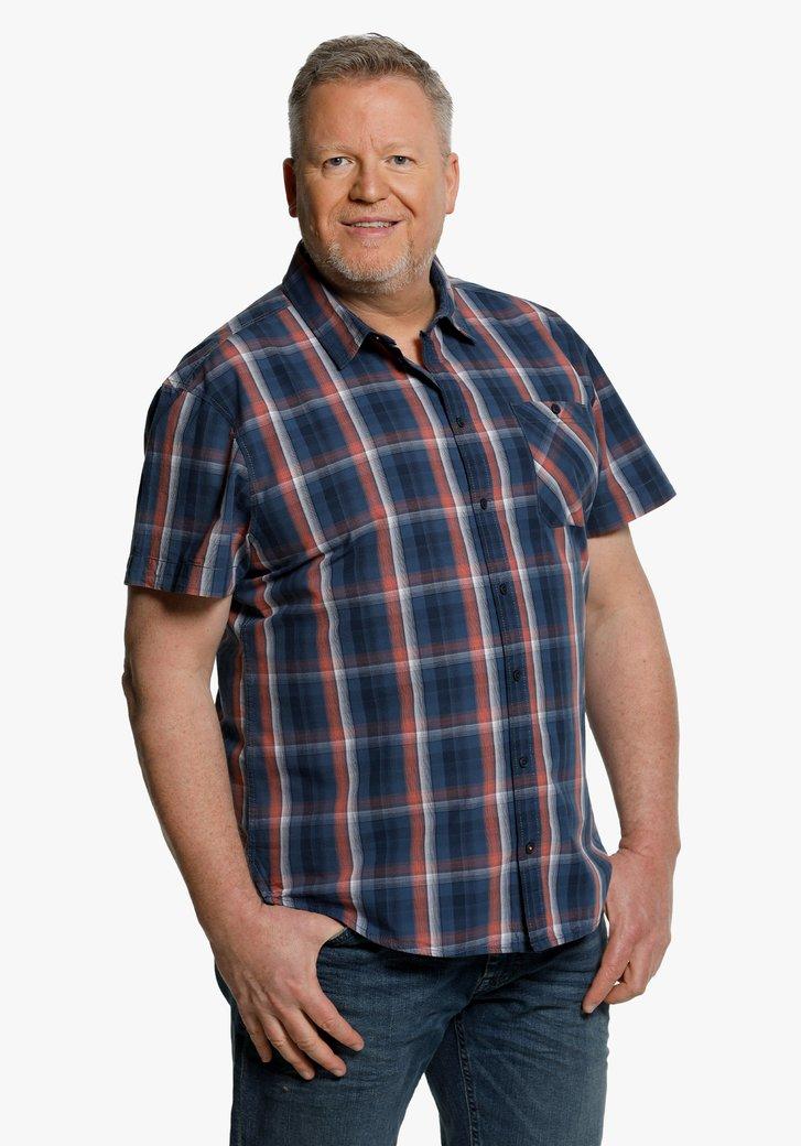Blauw-roze geruit hemd met korte mouwen
