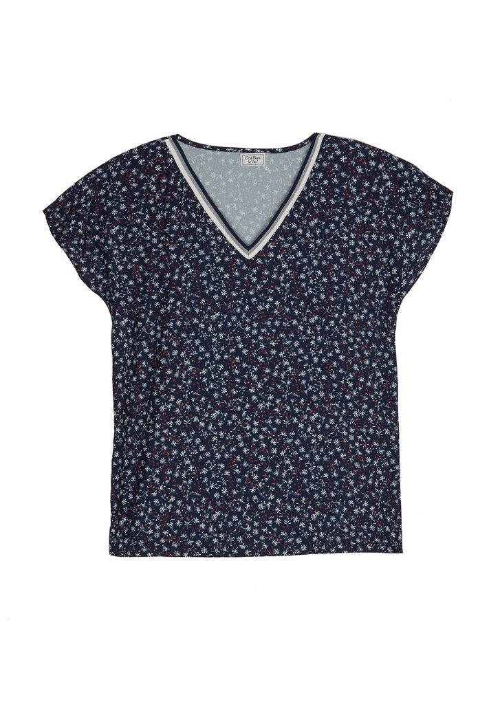 Blauw soepelvallende blouse met print