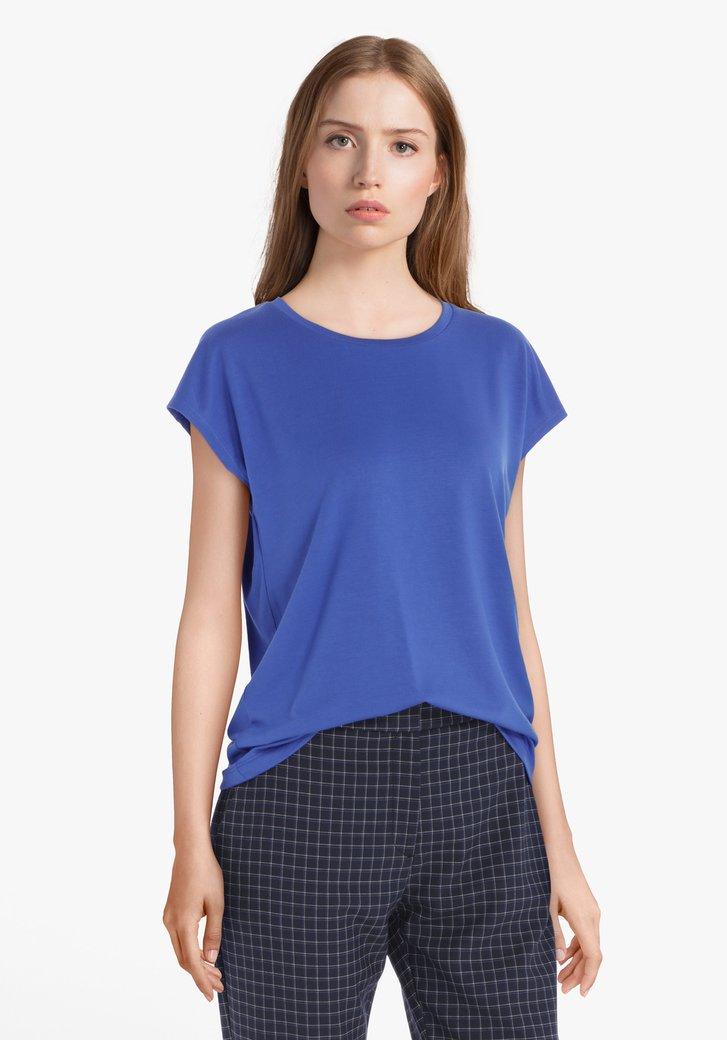Blauw T-shirt met aangeknipte mouwen