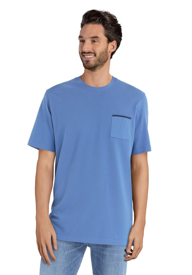 Blauw T-shirt met borstzakje en ronde hals