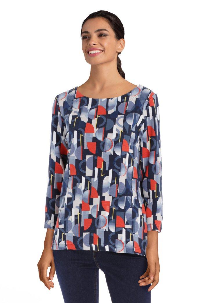 Blauw T-shirt met geometrische print