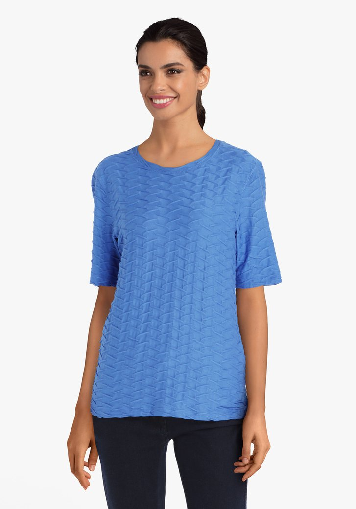Blauw T-shirt met golvend reliëf
