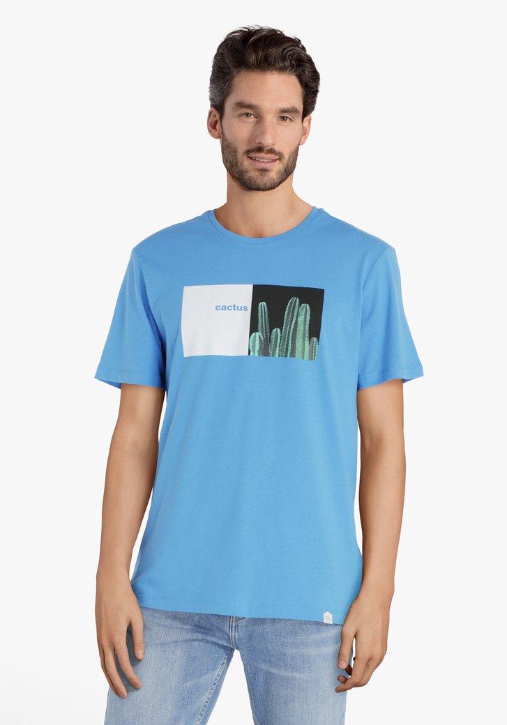 """Blauw T-shirt met opschrift """"Cactus"""""""
