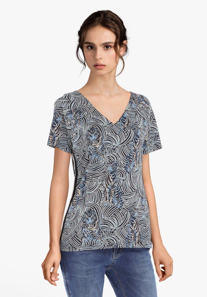 Blauw T-shirt met panterprint