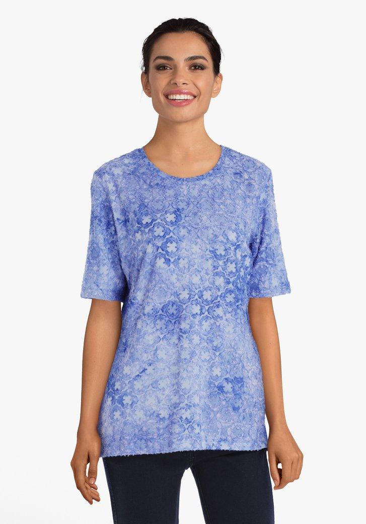 Blauw T-shirt met tie-dye reliëf