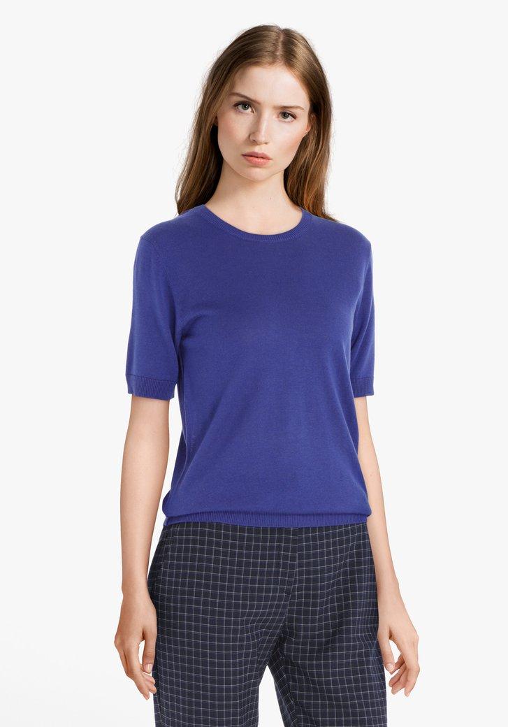 Blauw T-shirt met wol en zijde