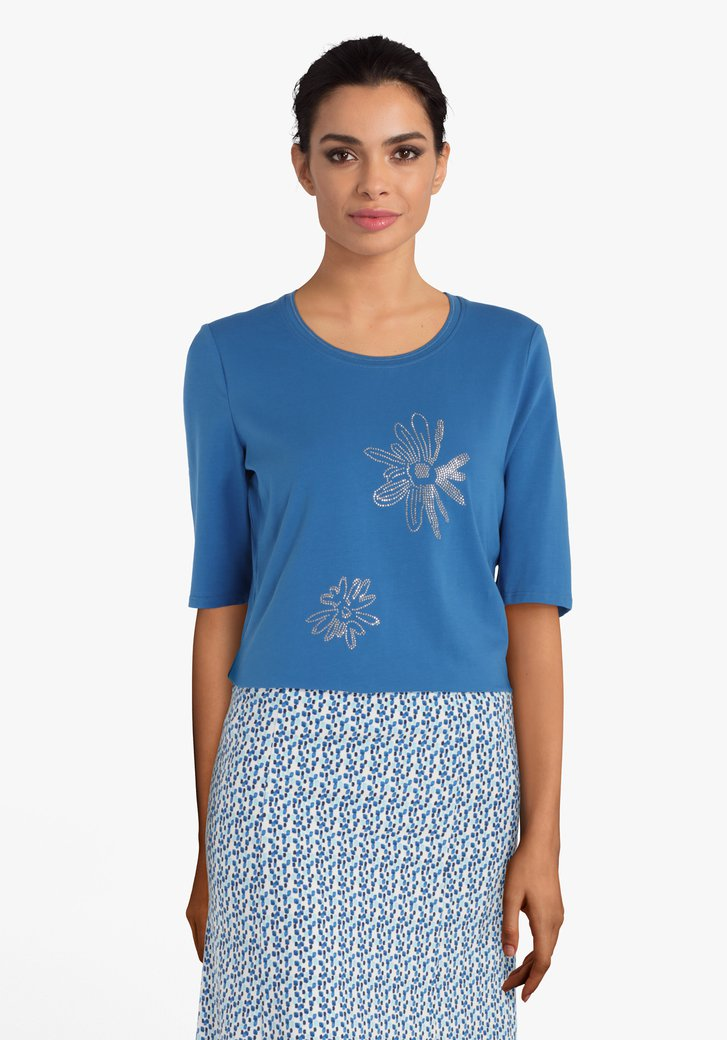 Blauw T-shirt met zilverkleurige strass