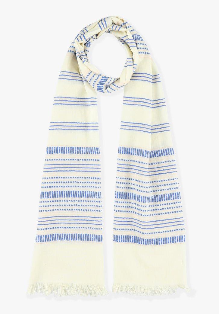 Blauw-wit gestreepte sjaal