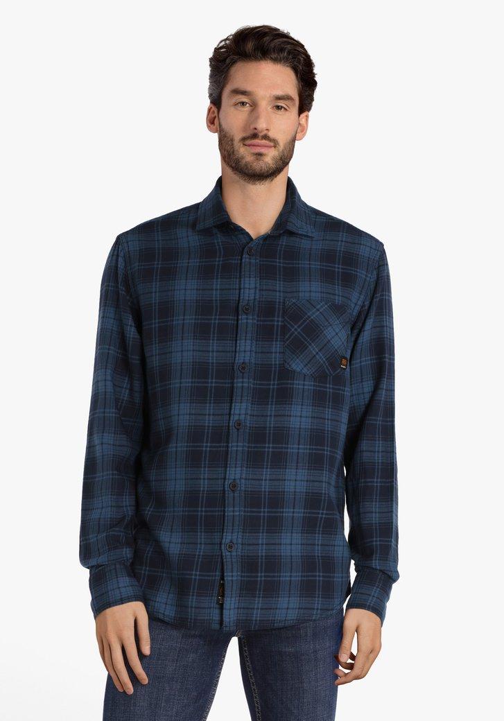 Blauw-zwart geruit hemd
